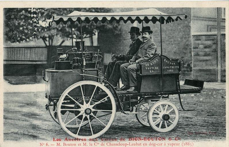Les ancètres aux Usines de Dion Bouton 6 M Bouton et M le Cte de Chasseloup Laubat en dog car à vapeur 1885