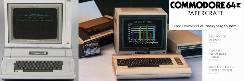 Classic computer papercraft: Commodore 64, Apple II
