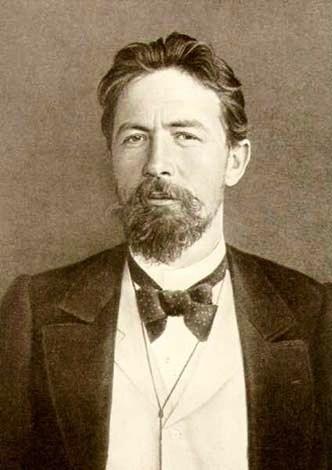 Anton Chekhov with bow tie sepia image