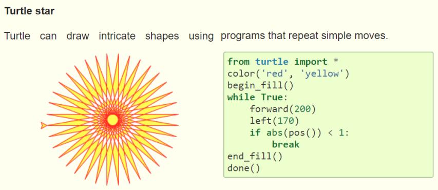 Python turtle library - turtle star