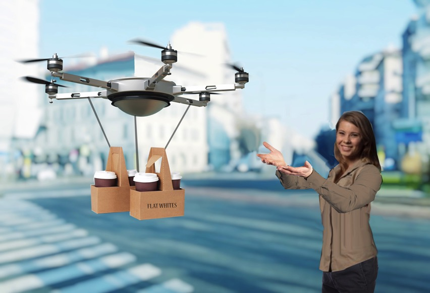 Drone delivery coffee flat whites