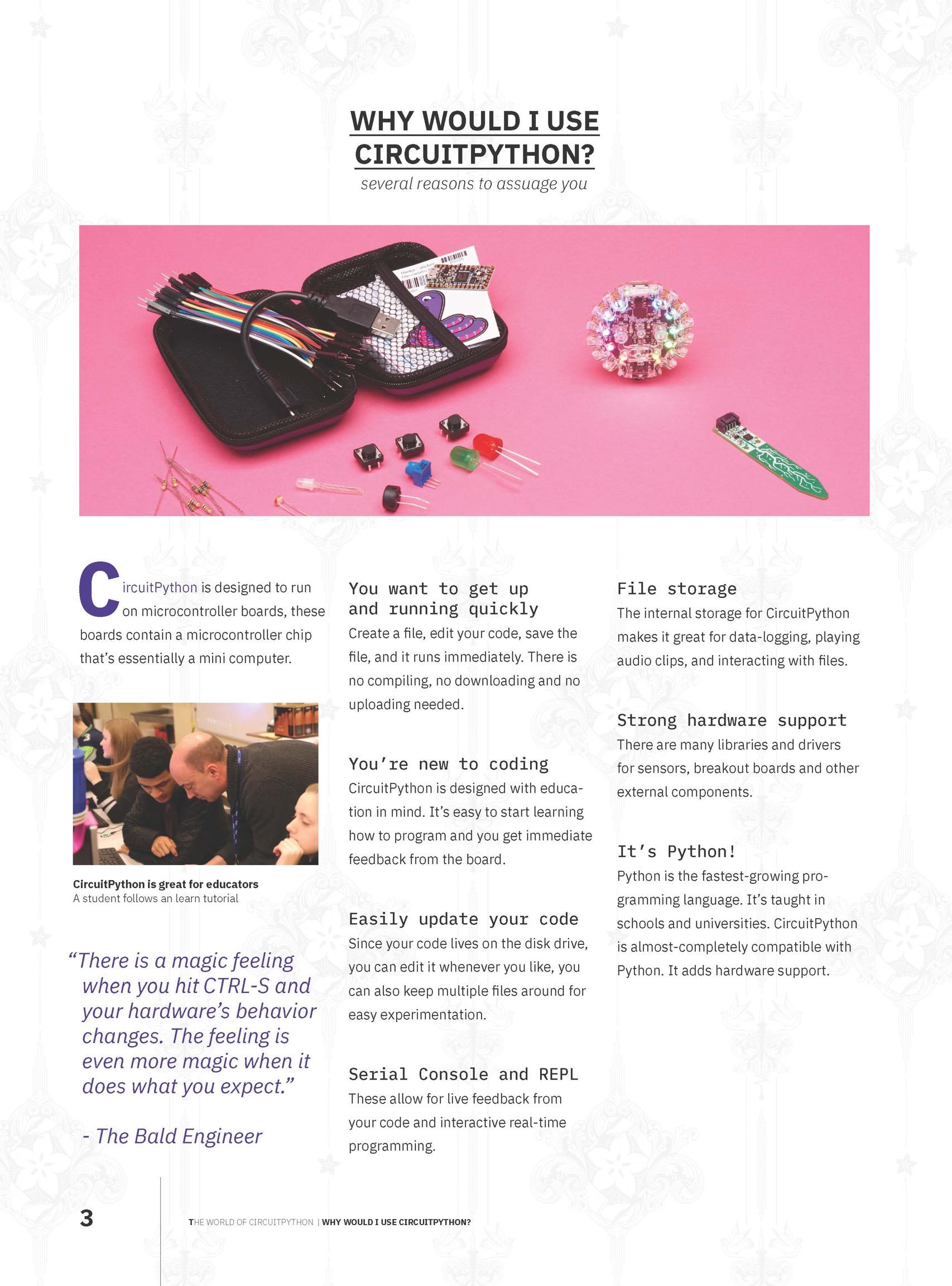 Timothy Garcia's CircuitPython magazine spread @eighthree