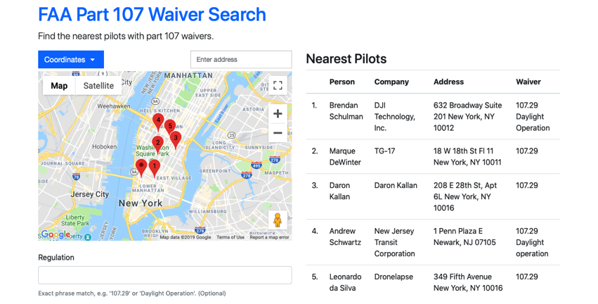 Part 107 Waiver Search