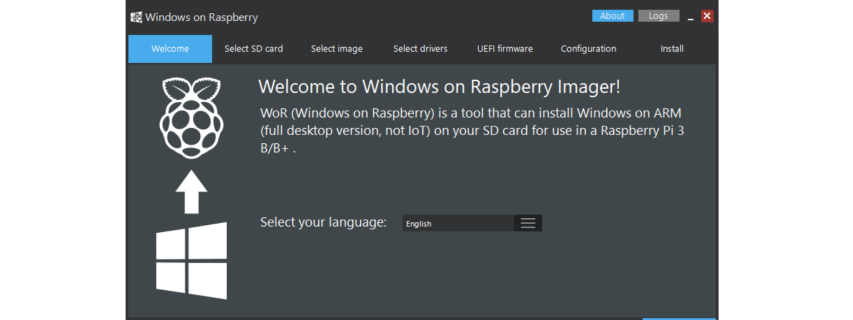 The Windows on Raspberry Pi Imager installs Windows 10 ARM64