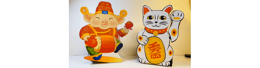 lucky cat and lucky pig
