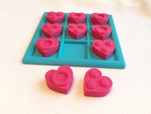 Tactile Tic Tac Toe – Hearts #3DPrinting #3DThursday