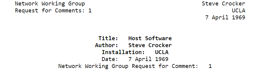 50 year anniversary of Request for Comments (RFC) 1 #Internet ...