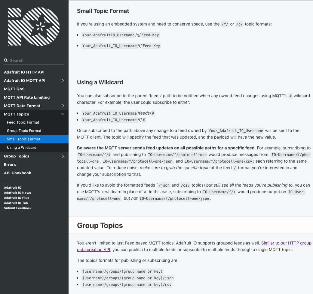 The NEW Adafruit IO Documentation is here! #API #HTTP #MQTT
