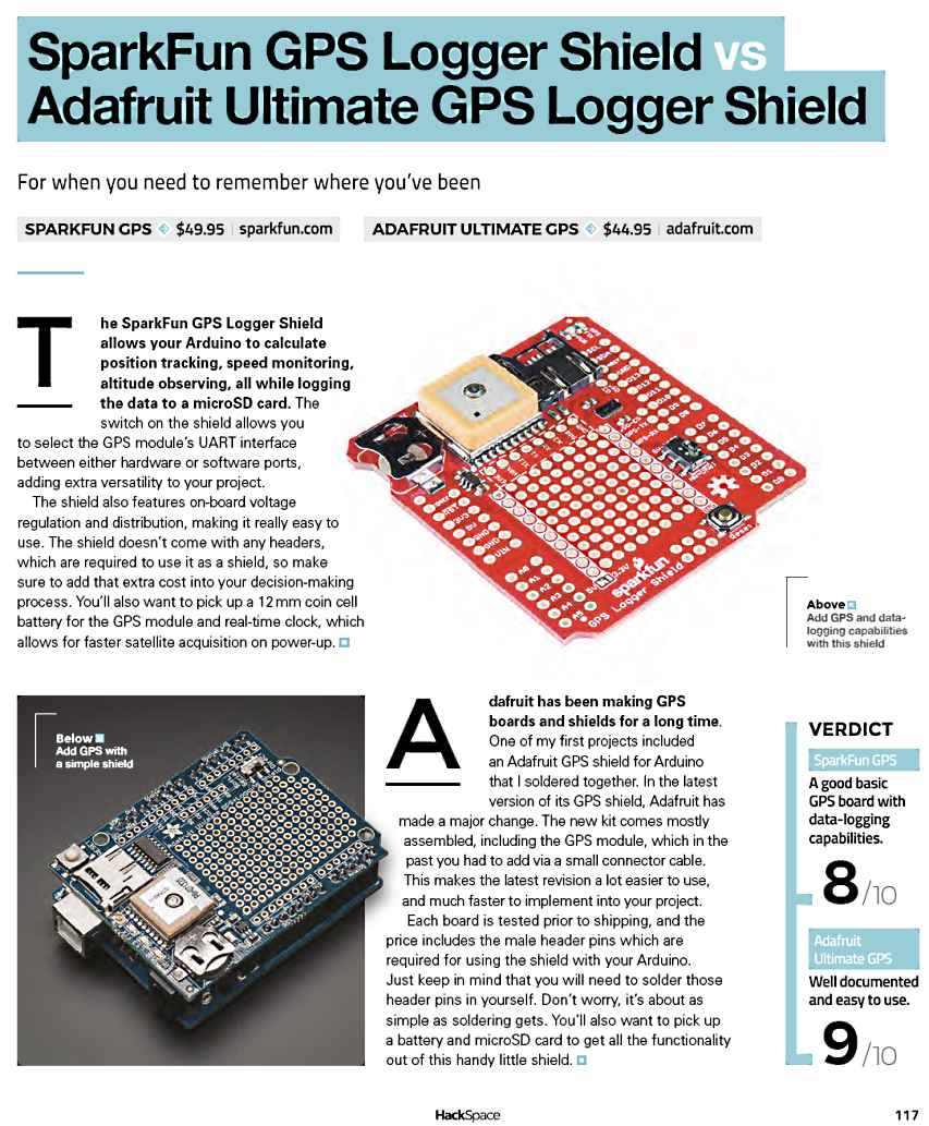 Issue 19 HackSpace magazine: 9/10 for the @Adafruit Ultimate GPS