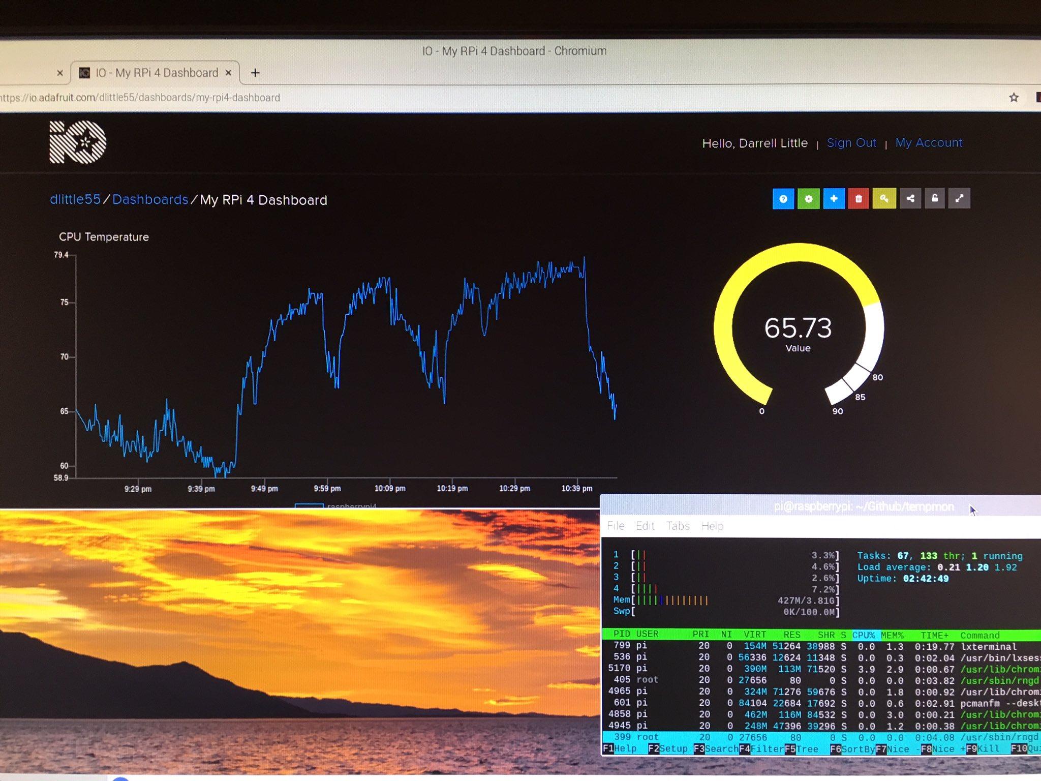 Logging Raspberry Pi 4 CPU Temperature Data using Adafruit IO