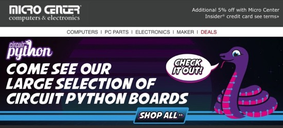 CircuitPython snakes its way to Micro Center