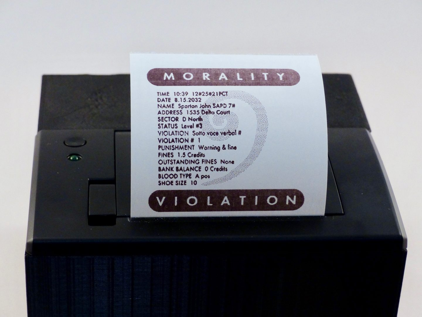Build Demolition Man S Verbal Morality Ticketing Machine