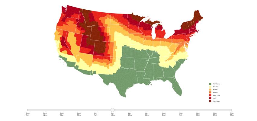 2019 Fall Foliage Map Nationwide Peak Leaf Forecast