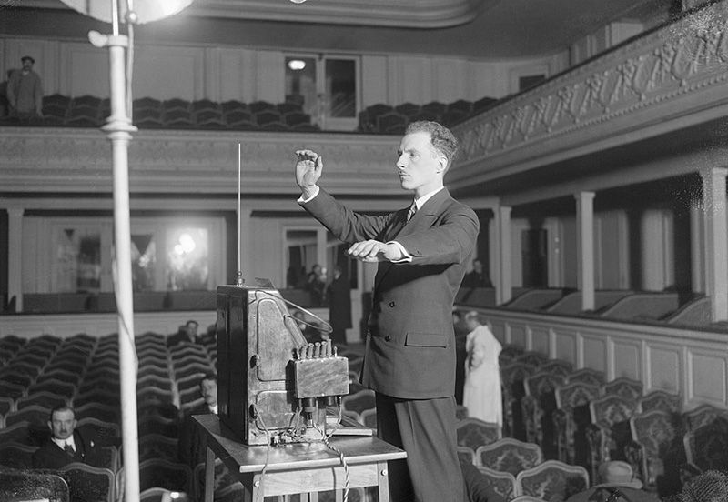 Theremin playing his theremin