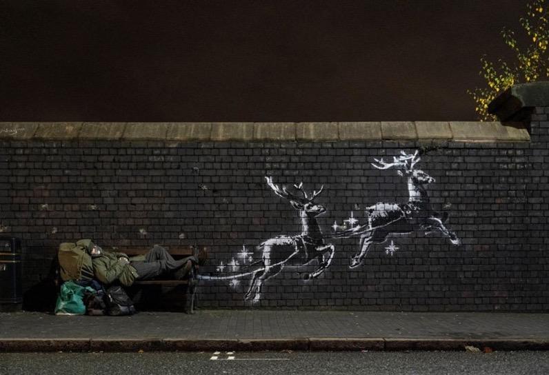 Banksy reindeer mural highlights homelessness during holidays designboom 1800 818