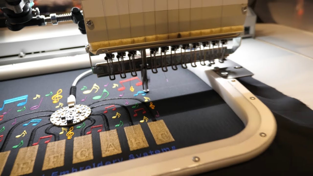 ZSK e-Textile embroidery machines incorporate sensors, flexible substrates and Circuit Playground