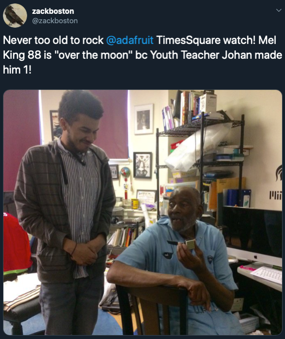 6 zackboston on Twitter Never too old to rock adafruit TimesSquare watch Mel King 88 is over the moon bc Youth Teacher Johan made him 1 https t co LEiJm3FSyT Twitter