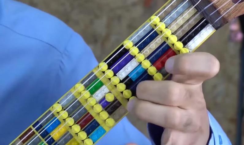 Lego guitar with brick fretboard designboom 4