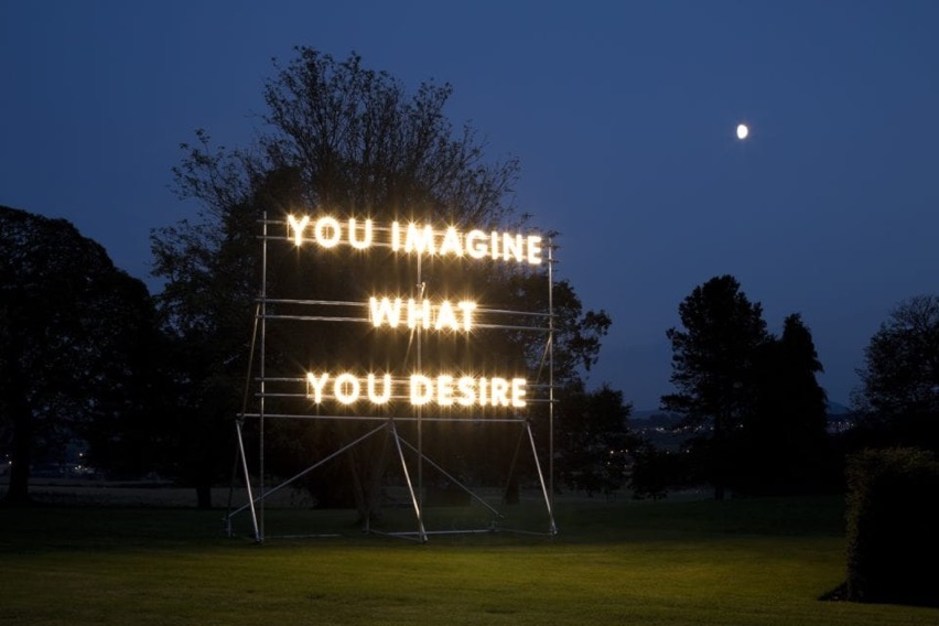 You Imagine What You Desire © Nathan Coley 2014 Illuminated text on scaffolding photo by Keith Hunter copy small 960x640
