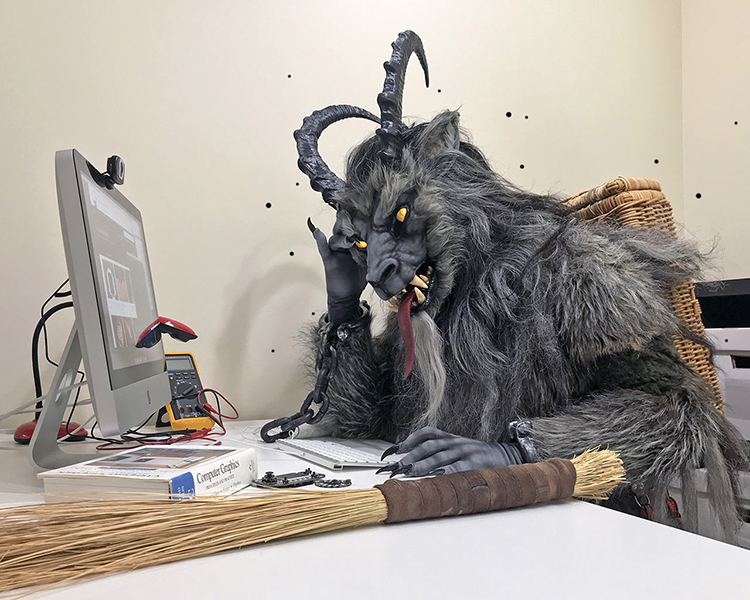 Krampus at desk
