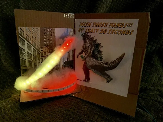 Godzilla Monster Light Up Hand Washing Sign