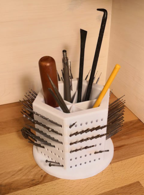 Burr holder with pencil compartment by Storckenfeldt Thingiverse