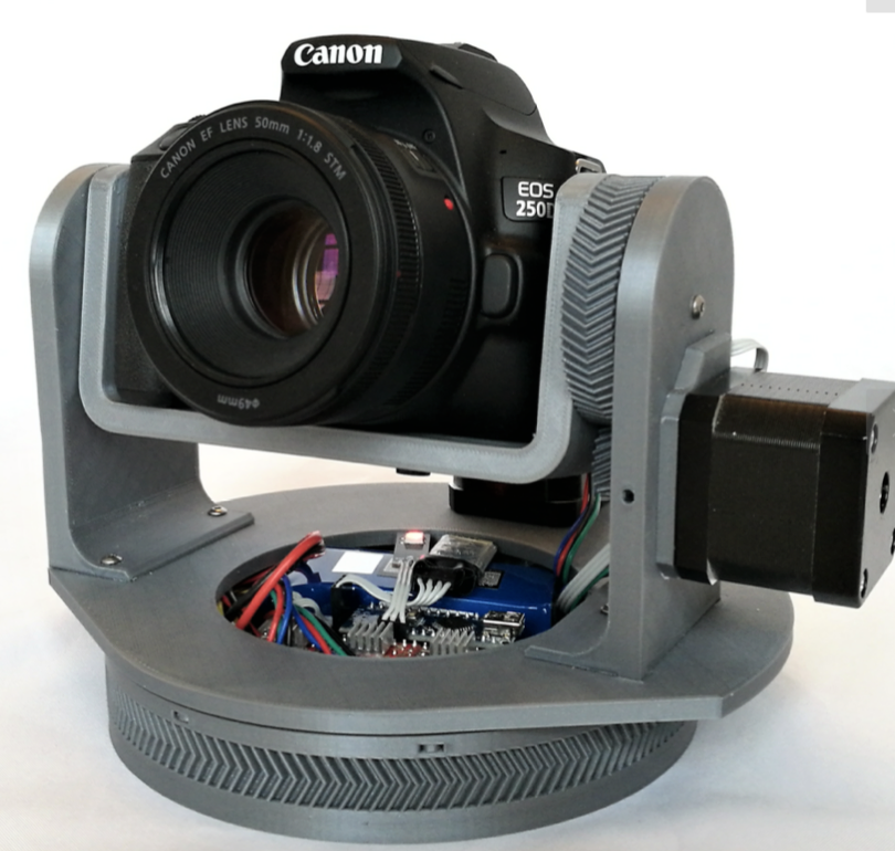 I designed this pan tilt mount for my Canon EOS 250D DSLR camera so I would do some motion controlled shots, timelapses and panoramas. The brain of it
