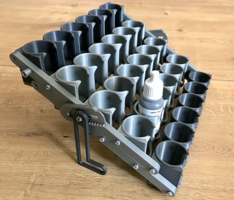Folding paint rack for 25mm bottles PrusaPrinters
