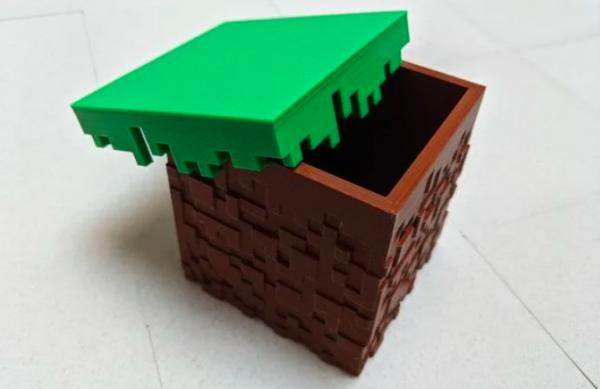 Textured Minecraft Grass Block Box #3DThursday #3DPrinting « Adafruit Industries – Makers
