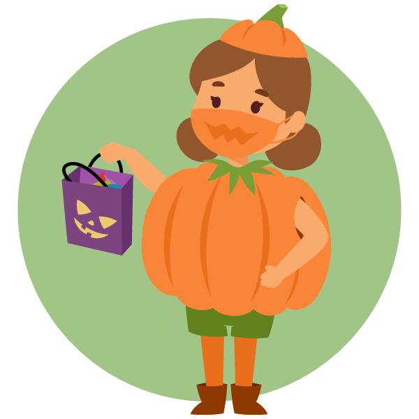 Halloween children trick or treating holding bag