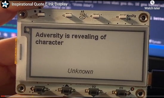 Inspirational Quote E-Ink Display