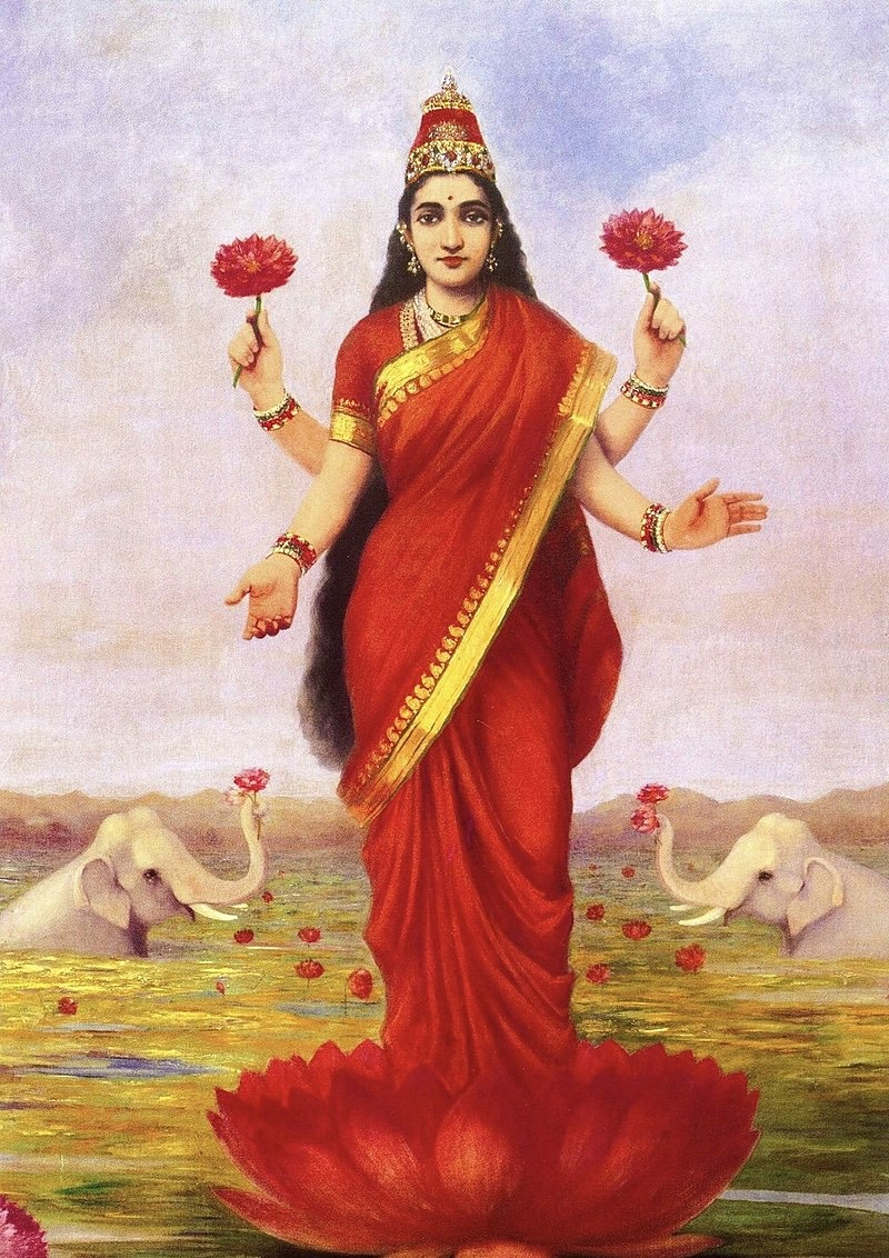 800Px-Raja Ravi Varma, Goddess Lakshmi, 1896