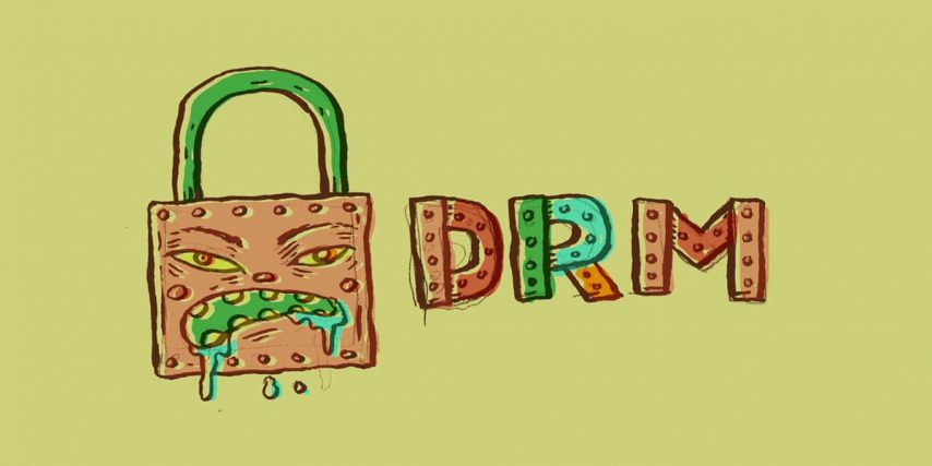a lock with an evil face next to the letters DRM
