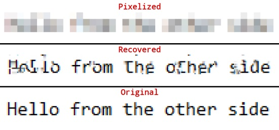Recovering passwords from pixelized images