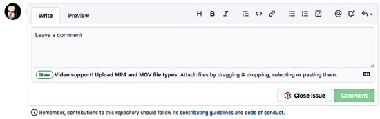 GitHub supports MOV and MP4