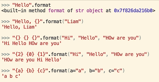 The Python String .format() Method