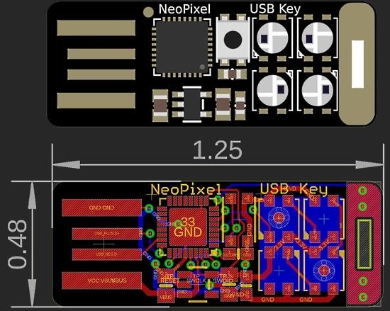 """SAMD21 NeoPixel USB Stick – USB """"TRINKET"""""""