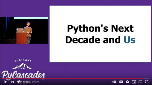 Screenshot of YouTube to play Scott's Python's Next Decade and Us