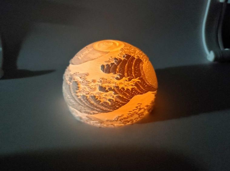 Lithophane Mood Lamp The Great Wave off Kanagawa by hyuck0118 Thingiverse