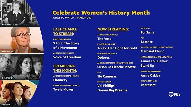 2ed476b65b WomensHistoryMonth2021 What to Watch 16x9 Newsletter