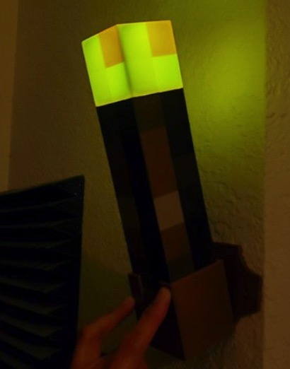 Minecraft Torch Holder with Screw Tabs by gambit951 Thingiverse