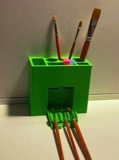 Paintbrush holder with folding holder by TheJag Thingiverse