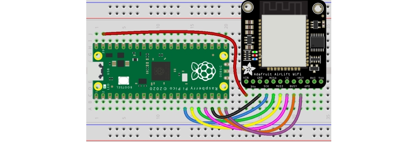 Connect your Raspberry Pi Pico CircuitPython project to the internet by adding an AirLift breakout board. The Adafruit AirLift is a breakout board tha