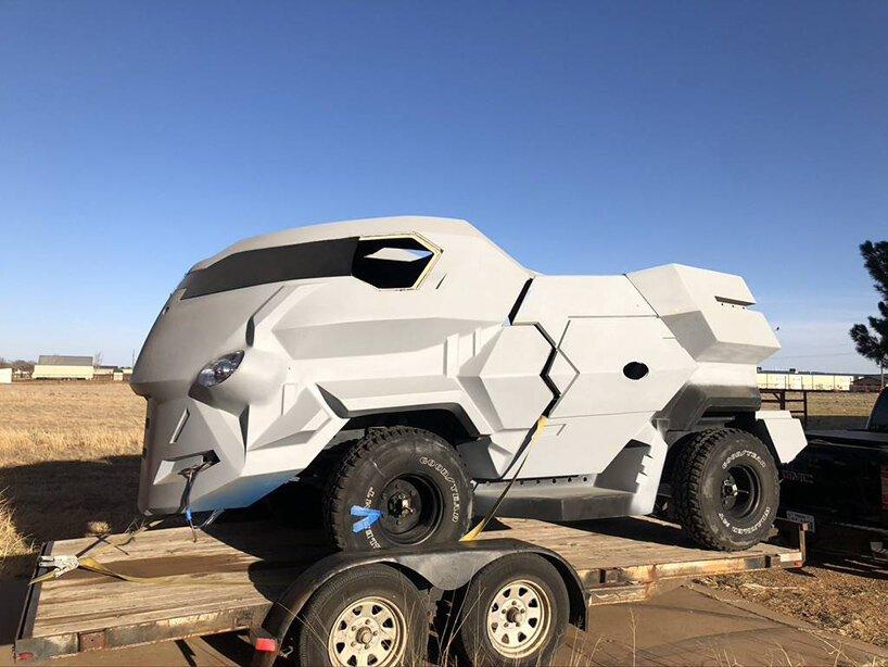 Judge dredd modified land rover 101FC designboom 01