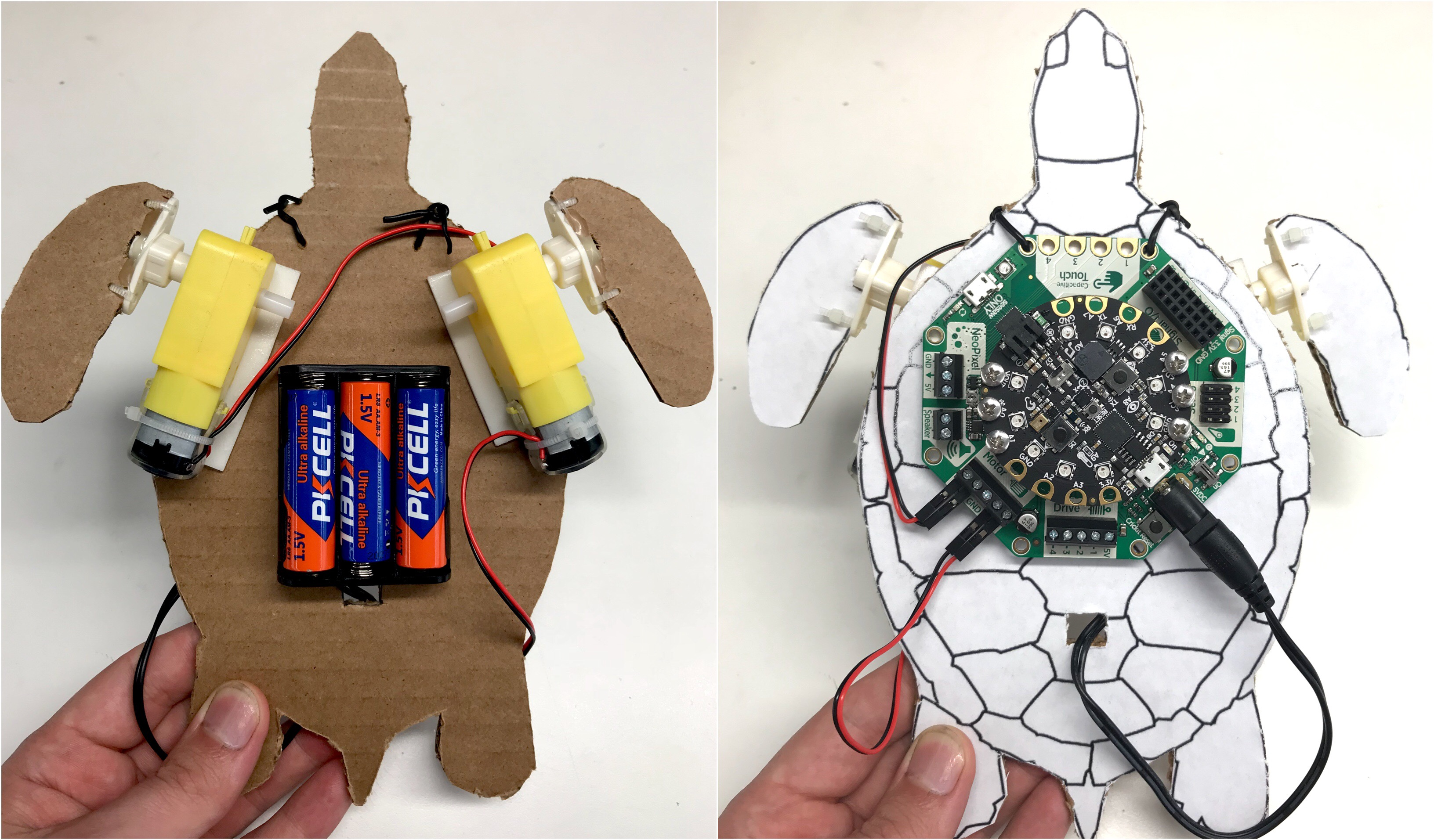 Crickit developmental board on top of cardboard cutout of baby turtle on right, underbelly of same cardboard turtle showing batteries