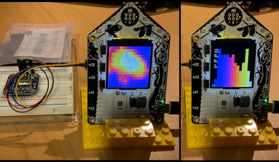 Testing the AMG8833 thermal camera CircuitPython code on the Adafruit FunHouse