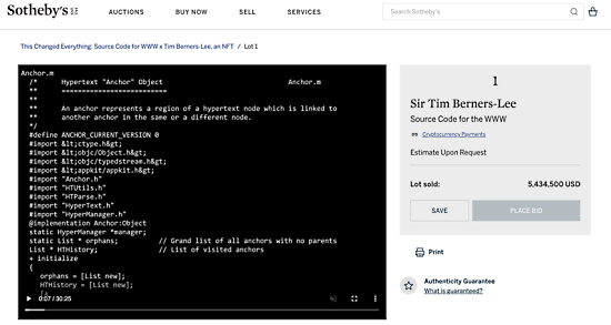 Web source code NFT