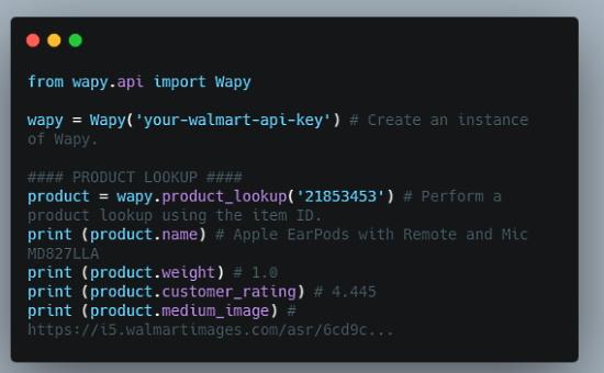 Python wrapper for the Walmart Open API