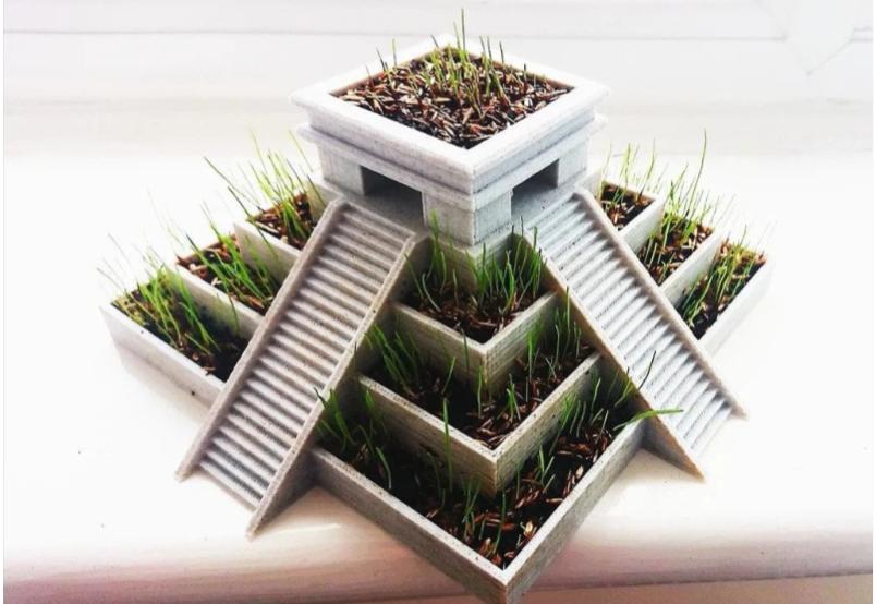Aztec Temple Plant Pot by Cloud11 Thingiverse