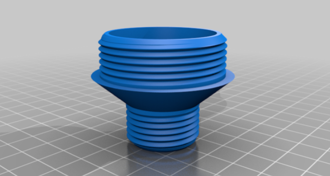 Water heater drip pan hose adapter by TinyTraders Thingiverse